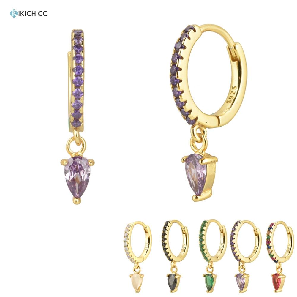 Kikichicc 925 Sterling Silver Purple Ovals Drop Earring Pendient Circle Luxury CZ Zircon Rock Punk Piercing Pendiente Earring
