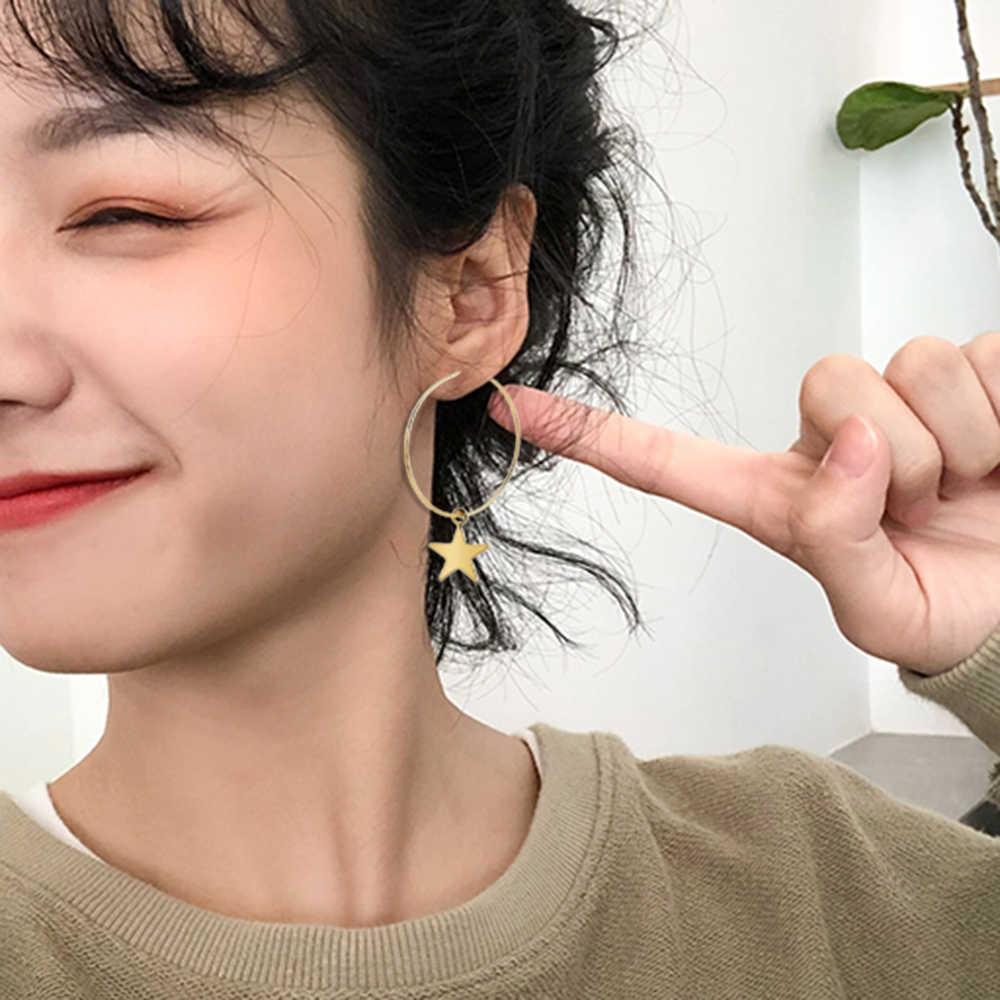 Phụ nữ Bohemia Đơn Giản Vòng Tròn Lớn Sao Vòng Hạt Tòn Ten Bông Tai Boho Nữ Thanh Lịch Bông Tai thời trang Hàn Quốc Ấn Độ trang sức