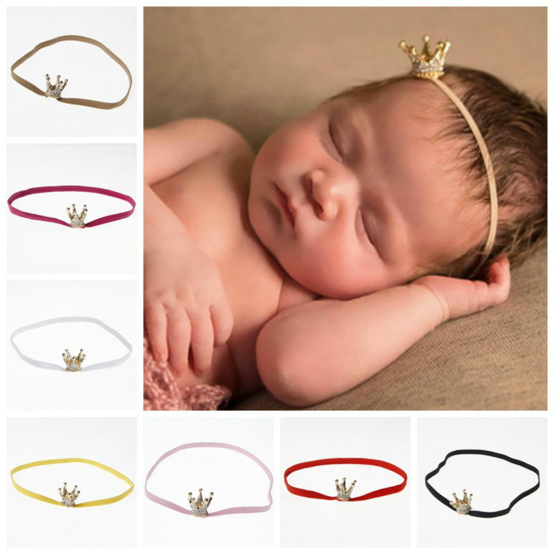 Shiny Baby Girls Boys Crown Headband Elastic Princess Hair Band Kids Hair Accessorie Photo Shoot For Newborn Photography Props