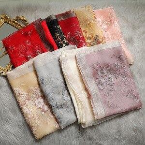 Image 5 - Hohe Qualität Frauen Seide Wolle Floral Stickerei Foulard Pashmina Hijab Schals Wraps Luxus Feste Cashmere Winter Schals