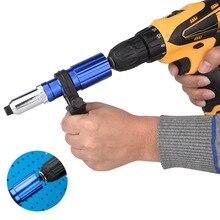 Electric Rivet Gun Adapter Blind Rivet Nut Gun Drill Converter Cordless Riveting Tool Insert Nut Tool Drill Riveter Gun Rivets