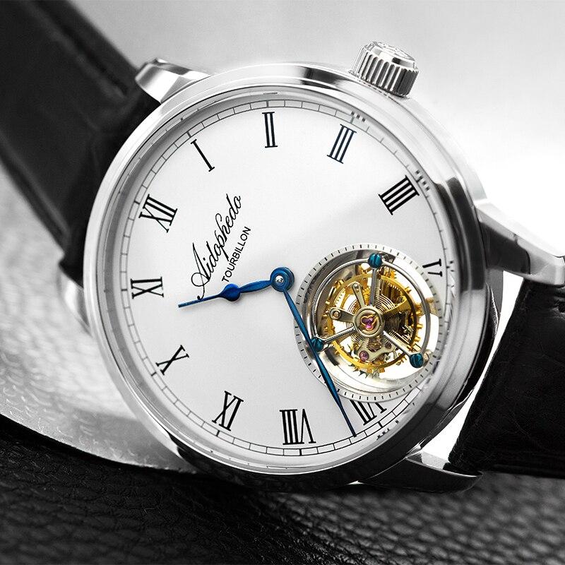 Mode décontracté Aidophedo Tourbillon montres mécaniques hommes véritable Crocodile cuir véritable mouette Tourbillon ST8230 homme montre