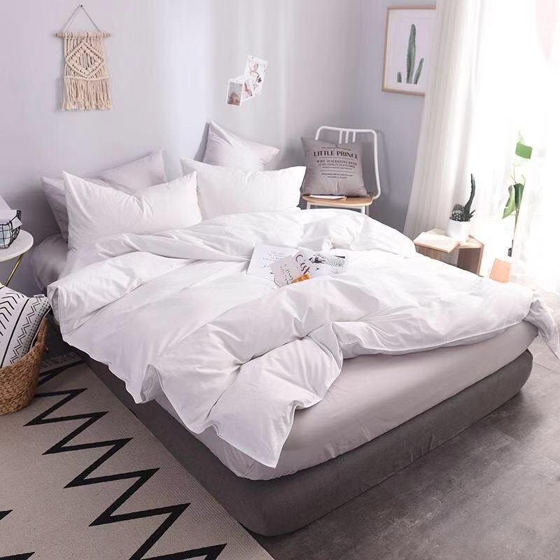 2019 hôtel ensemble de literie satin bande de luxe blanc hôtel linge de lit double reine pleine King Size housse de couette drap housse taie d'oreiller