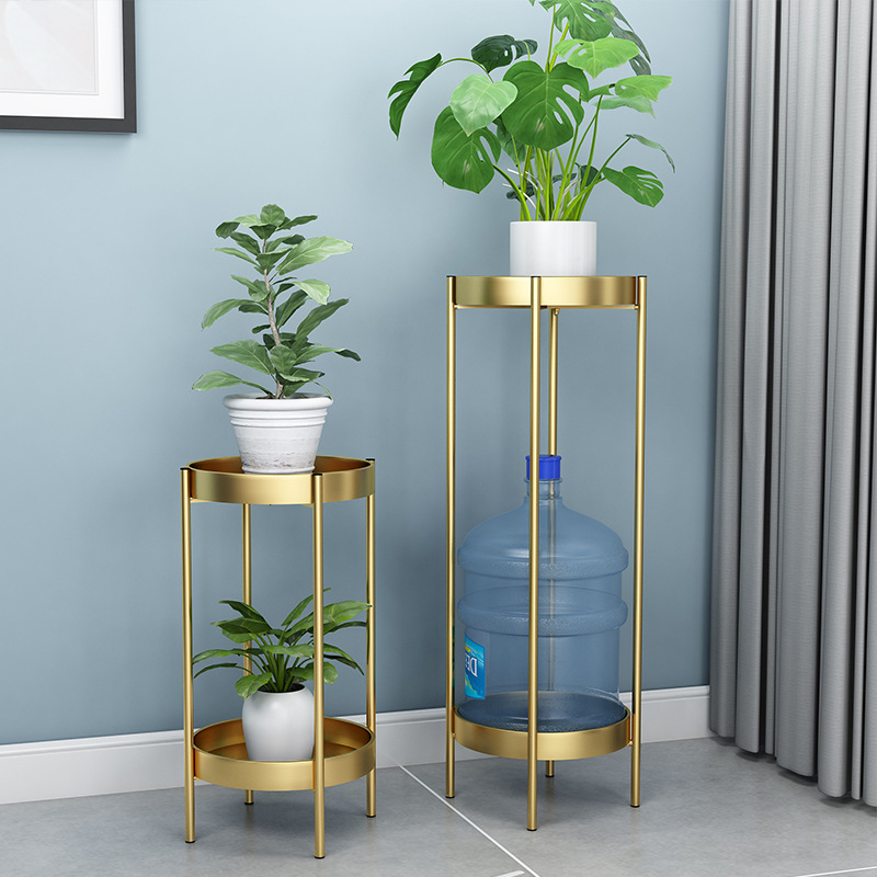 Nordic Metal Plant Stand 2-tire Gold Flower Metal Stand Office Home Iron Plant Stand White Metal Garden Decors Metal Shelves