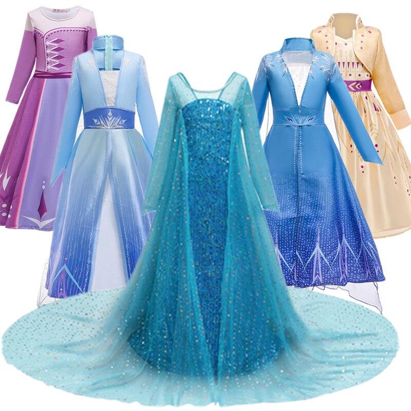 Fantasia Ragazze Anna Elsa 2 Cosplay Dress Bambini Costume Bambini Festa di Compleanno Della Principessa 5 7 9 10 Vestiti Della Ragazza elsa Costumi