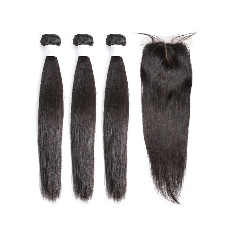 Halo hair 3 4 Bundles Brazilian Straight Hair Bundles With 6x6 Lace Closure Double Weft Non-Remy Human Hair low ratio