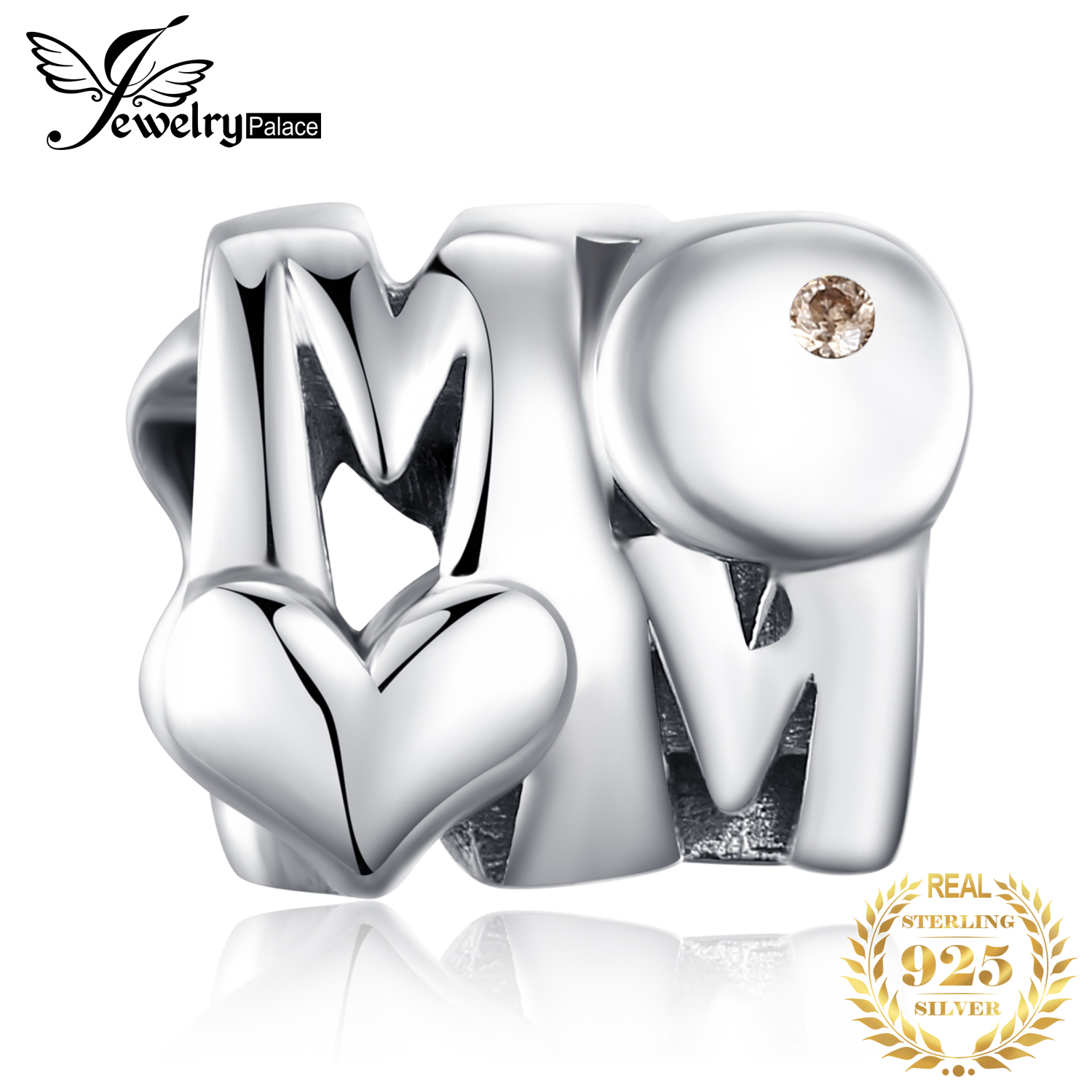 JewelryPalace 925 Sterling Silver Heart Mother Beads Charms Silver 925 Original For Bracelet Silver 925 original Jewelry Making in Beads from Jewelry Accessories