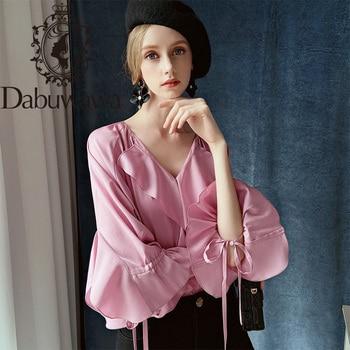 Dabuwawa Vintage Pink Ruffle Sleeve V Neck Blouse Top Modern Lady Women Elegant Wrap Hem Blouses Shirts Female DT1CST011 dabuwawa elegant white v neck solid lace cutout blouse women tops short sleeve button front blouses shirts female dt1bla004