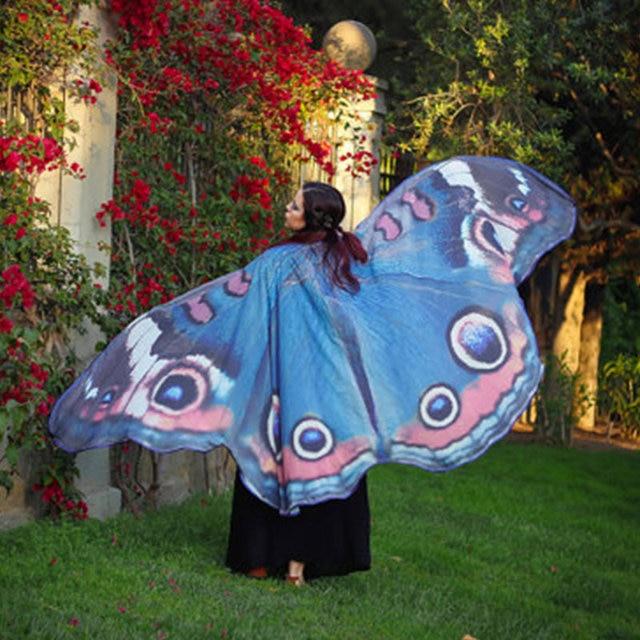 Femmes papillon ailes Pashmina châle écharpe nymphe Pixie Poncho Costume accessoire été imprimé serviette de plage mode dame vêtements