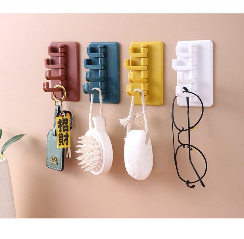 Kitchen Organizer Traceless Self Adhesive Wall Hook Rotatable Home Supply Towel Bathroom