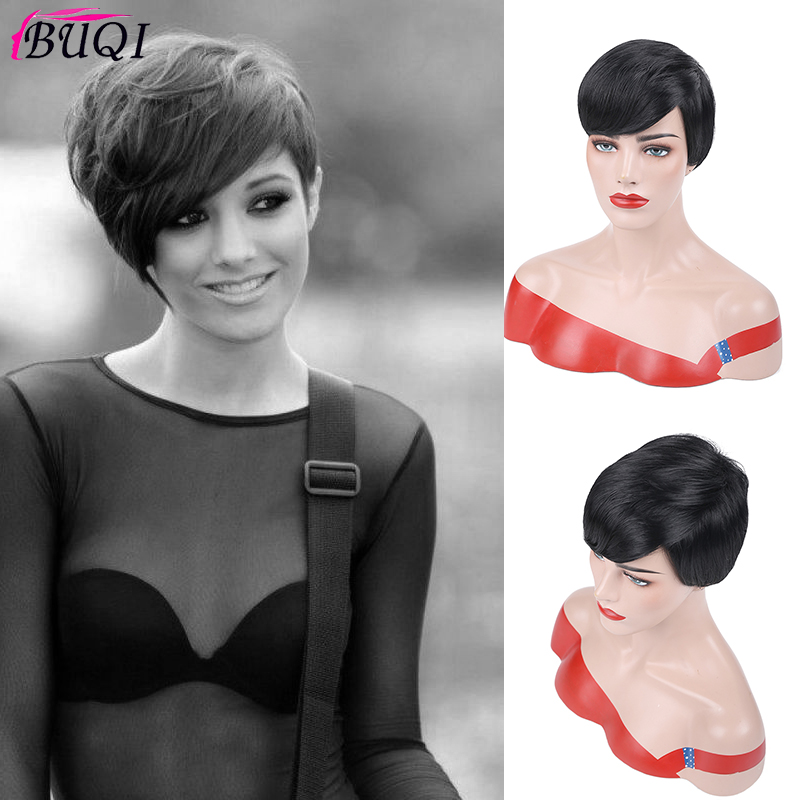 BUQI WIG Short Human Hair Wigs Brazilian Remy Hair Heat Resistant Synthetic Wig For Black/White Women