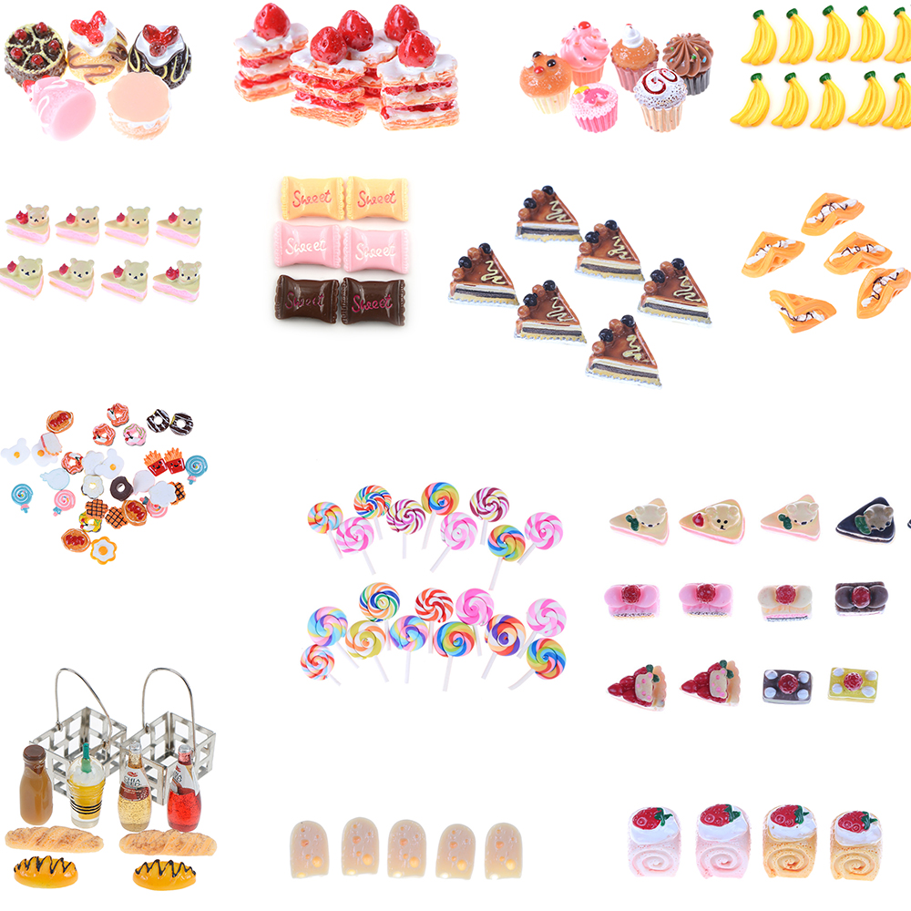 5Pcs Artificial Fake Miniature Bakery Cake Bread Food Fruit Banana DollHouse Kitchen Toy Craft DIY Embellishment Accessories