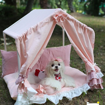 Comfortable and beautiful dog tent lace pet room soft thick cushion kennel