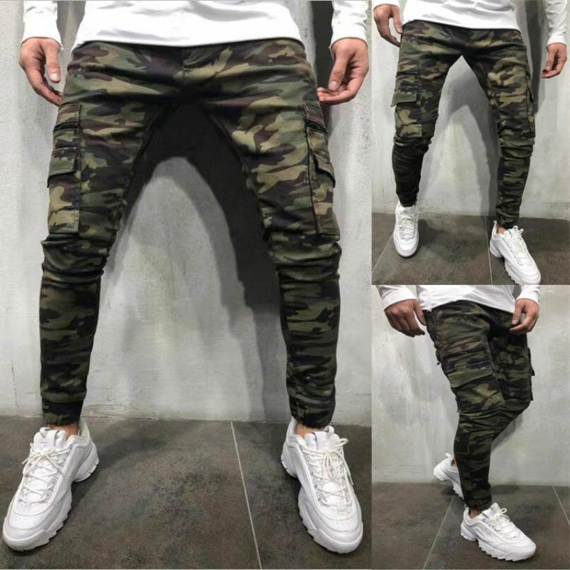 Military Camouflage Jeans Men Brand New Multi-pocket Mens Skinny Denim Pants Trousers Casual Slim Fit Pencil Pants Joggers XXXL