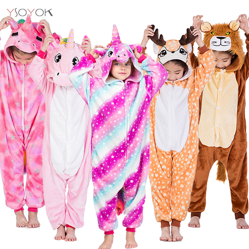 Kids Unicorn Pajamas Kigurumi Cartoon Animal Panda Licorne Onesie Pyjamas Kids Baby Costume Children Sleepwear For Girls Boys