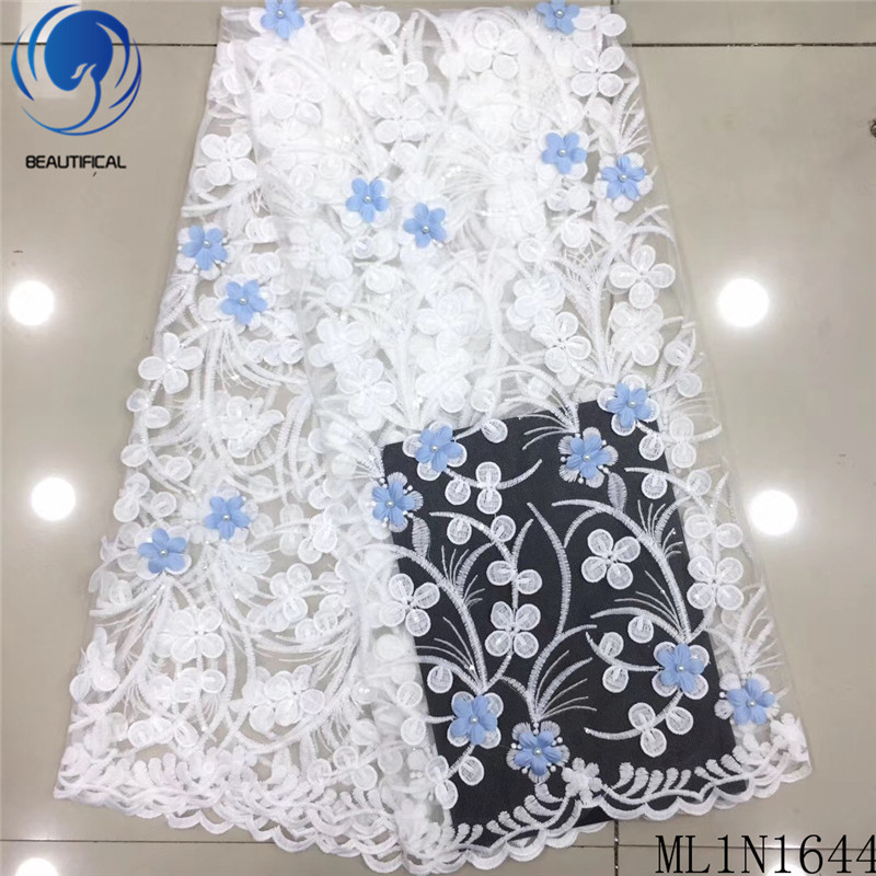 Belle dentelle africaine tissus 3d fleurs français dentelle tissu avec perles 2019 nouveau broderie fleurs net dentelle 5yards ML1N1644
