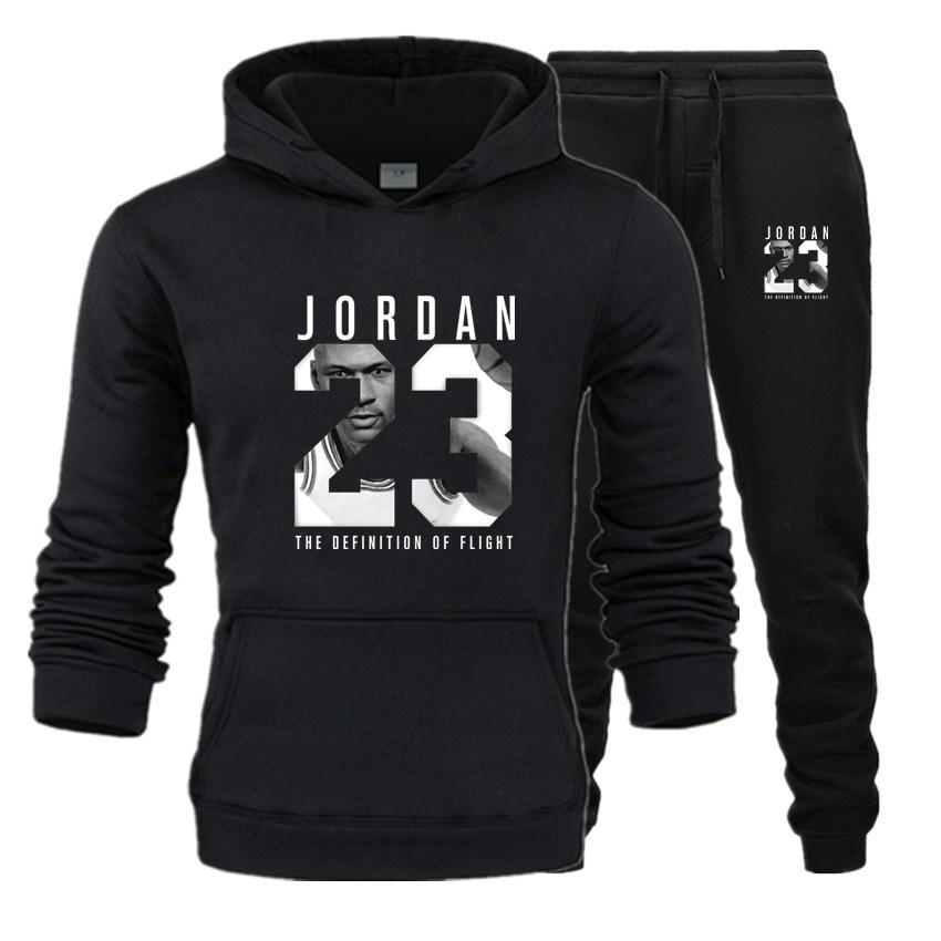 Hot New Brand Tracksuit Fashion JORDAN 23 Men Sportswear Two Piece Sets All Cotton Fleece Thick hoodie+Pants Sporting Suit Male