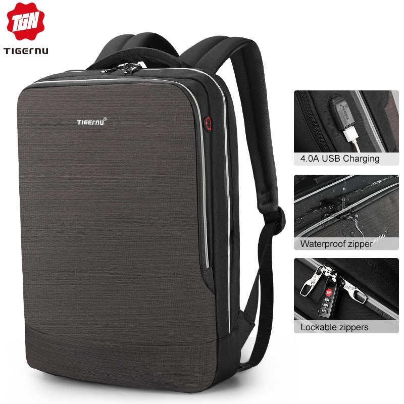 Nueva Mochila tigernu-hombre 4.0A USB de carga rápida antirrobo Mochila masculina para 15,6 Laptop de viaje de negocios Mochila hombre Mochila