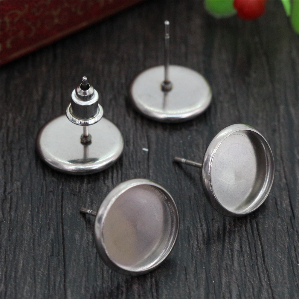 (Never Fade) 20pcs 6mm 8mm And 10mm Stainless Steel Earring Base Studs Ear Cameo Settings Cabochon Base Tray Blank (With Back)