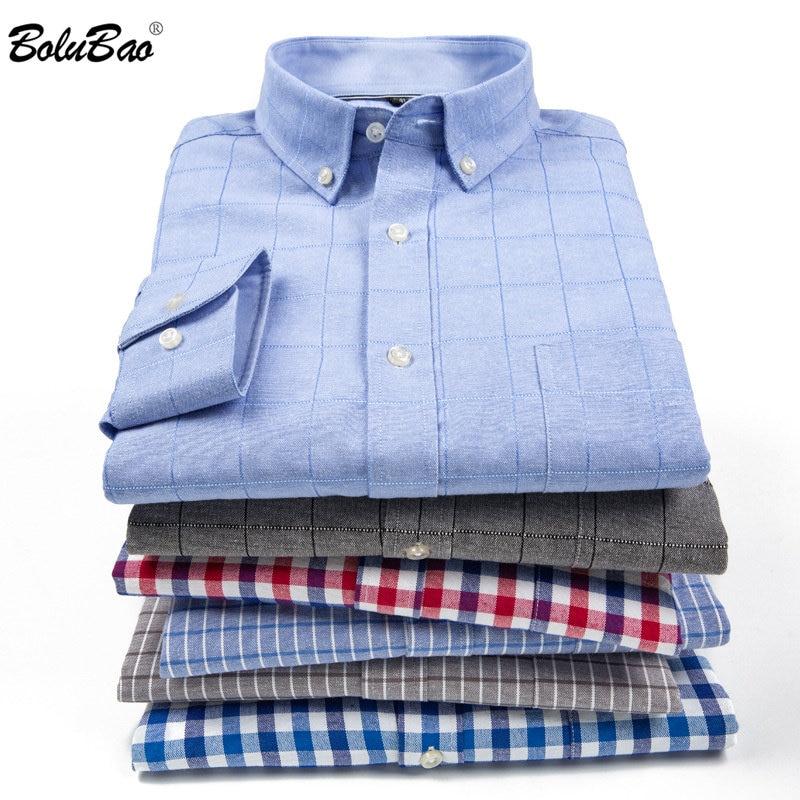 BOLUBAO Brand Men Trend Shirts Autumn Men's  Striped Shirt Oxford Textile High Quality Denim Casual Shirts