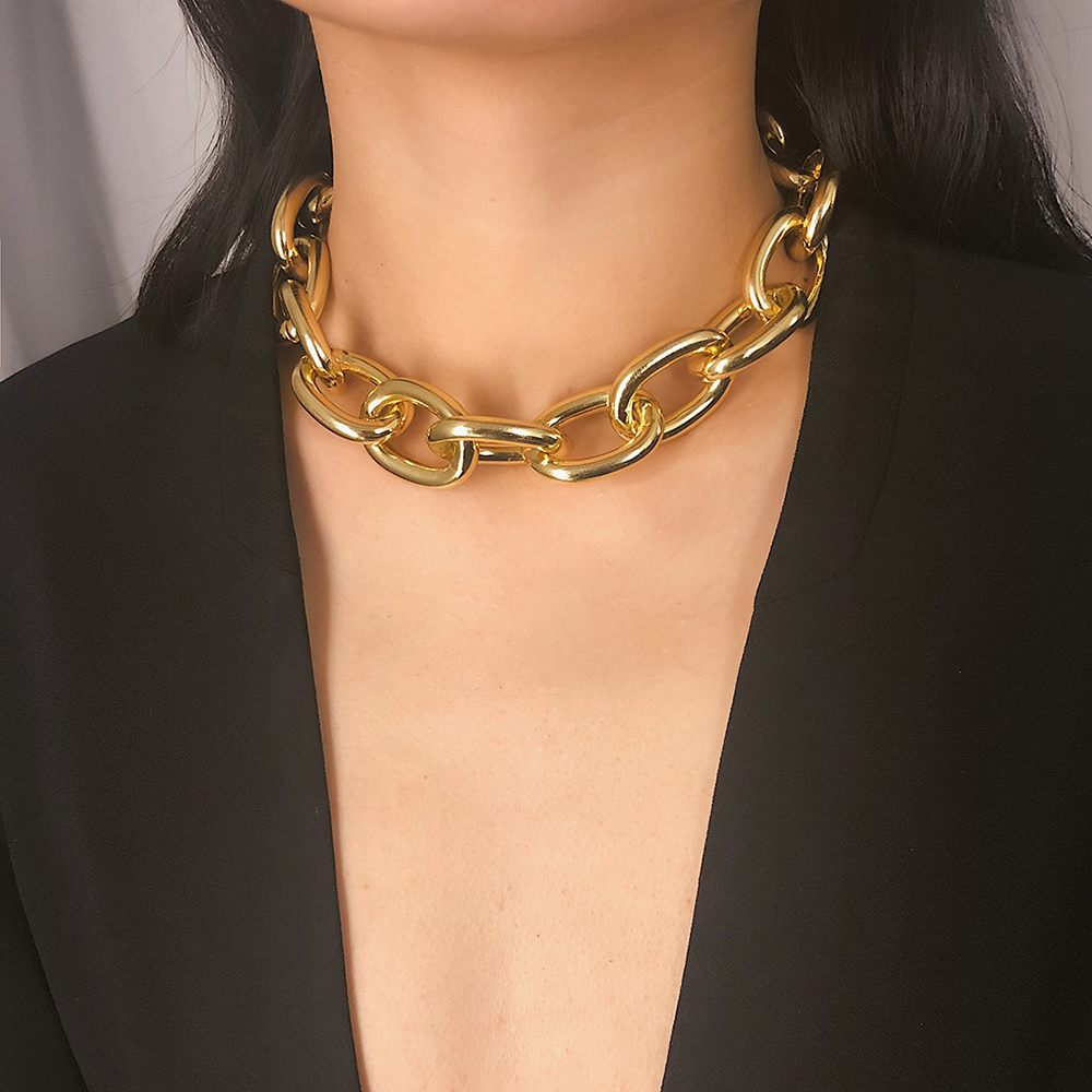 IngeSight.Z Punk Curb Cuban Choker Necklace Collar Statement Gold Color Chunky Thick Clavicle Chain Necklaces for Women Jewelry