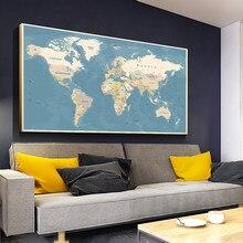 Toile décorative de carte du monde minimaliste moderne, Cuadros, affiches d'art murales et imprimés, salon, bureau, peinture de décoration de maison