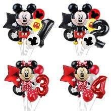 Ballons de fête Disney Mickey Mouse, 7 pièces, 32 pouces, avec chiffres, décorations pour fête prénatale, anniversaire, jouet, cadeaux pour enfants