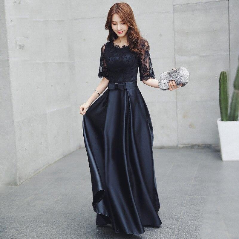 BacklakeGirls longues robes de soirée en Satin 2020 col rond demi manches une ligne formelle robe de bal noir robe de soirée Vestaglia Donna