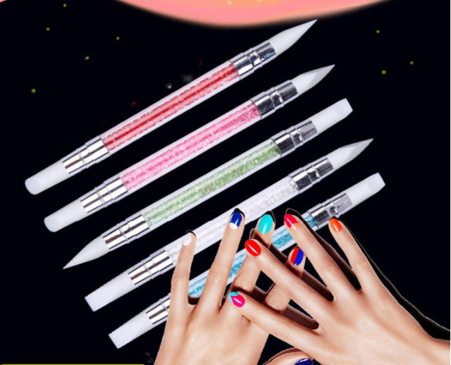 Full Beauty Dual-ended 2 Ways Silicone Nail Art Sculpture Pen 3D Carving DIY Glitter Powder Liquid Manicure Dotting Brush 1