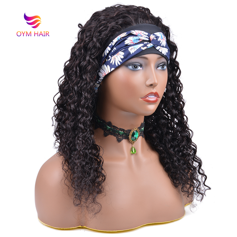 Water Wave Headband Wigs Human Hair Wigs Full Machine Made Wig Natural Hairline For Black Women Scarf Wig Remy Brazilian Hair