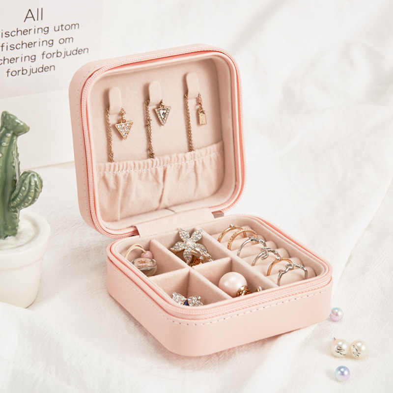 Exquisite Travel Jewelry Box Packaging Display Organizer Holder PU Leather Zipper Jewellery Case Wedding Gift Boxes for Women