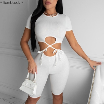 Bomblook Sexy Lace Up Hollow Out Romper Women 2020 Fashion Short Sleeve Bodycon Jumpsuit Bodysuit Shorts Tight Pants Overalls grey bodycon shorts with hollow design