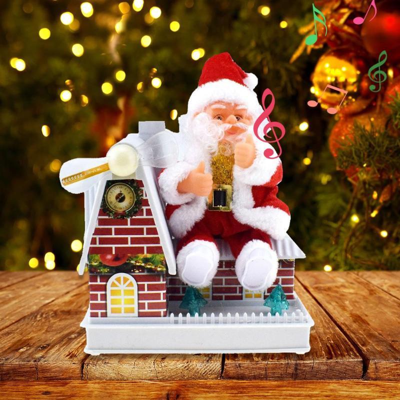 Fun Windmill House Santa Toy Electric Doll Xmas Decoration Ornaments Entertainment And Ornamental Integration Interesting