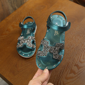 2020 Summer New Kids Sandals  Girls Princess Sweet Chic Rhinestone Soft Children Beach Shoes For Toddlers Big Girl Size 21-36
