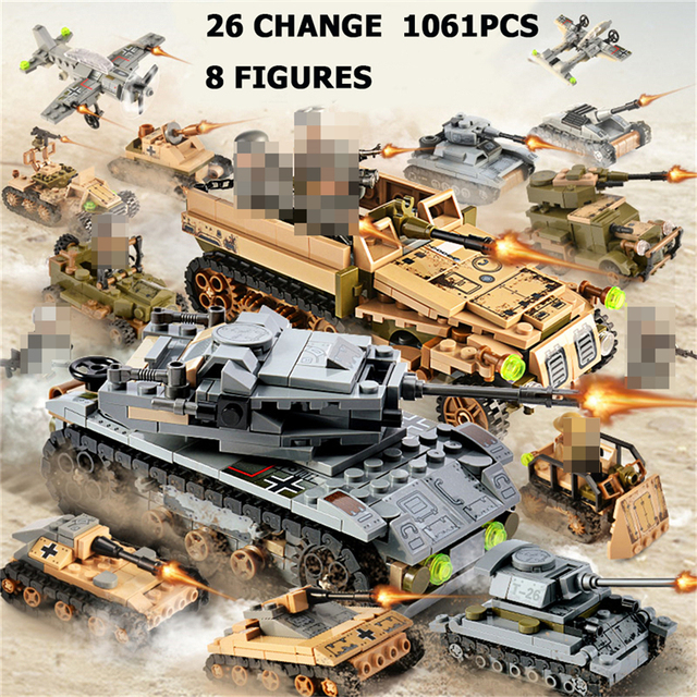 1061PCS Tank Building Blocks Toys Mini figures Vehicle Aircraft Boy Educational Block Military Compatible LegoINGlys Bricks