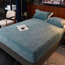 Bed-Sheet Mattress Single Flannel Velvet with Elastic Winter Warm Fleece Queen King