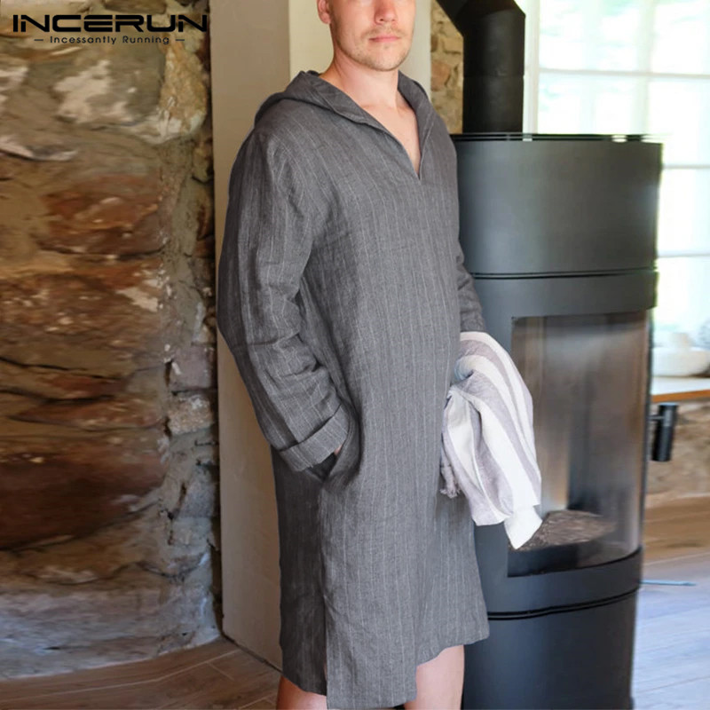INCERUN Cotton Men Sleep Robes Hooded Long Sleeve V Neck Nightgown Men Loose Homewear Pockets  Striped Leisure Sleepwear S-5XL
