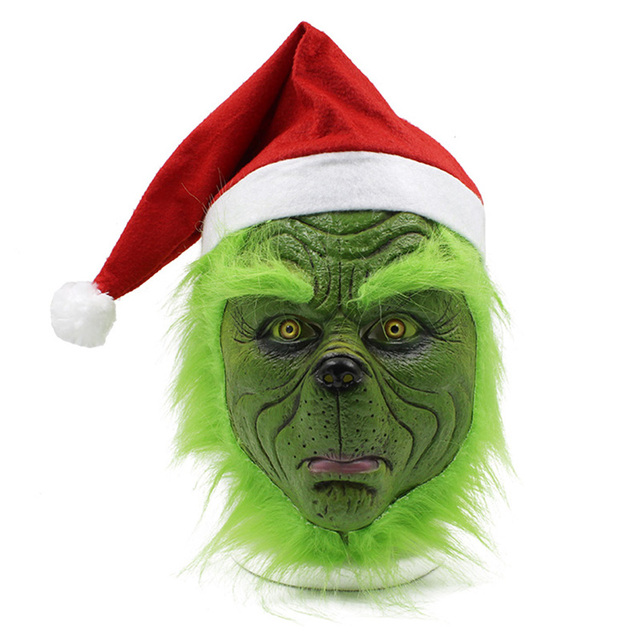 Funny Grinch Stole Christmas Latex Mask Gloves XMAS Costume Adult Party Mask Grinch Cosplay Carnival Face Masks 2