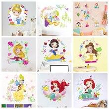 Disney Snow White Princess Wall Stickers For Kids Rooms Home Decor Cartoon Cinderella Ariel Decals Pvc Mural Art Wallpaper