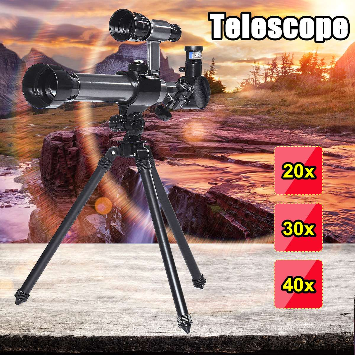 Professional HD Telescope Astronomical Monocular With Tripod Refractor Spyglass Zoom High Power Spotting Scopes Powerful Kid Toy