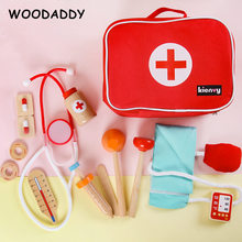 New Arrival Simulation Doctors Baby Wooden Toys For Kids Pink Strawberry Beauty and Fashion Toys Cosmetic Bag Educational Gift