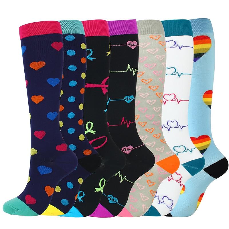 30 Styles Compression Socks For Men & Women (20-30 Mmhg) Best Stockings Running Fit Breathable Long Socks For Male Travel Sock