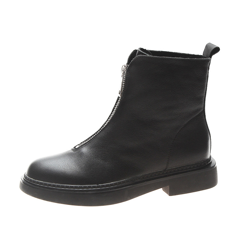 Genuine Leather Women Boots Winter Plus Velvet Woman Shoe Fashion Female Breathable Cowhide Bootie Front Zipper Light White Boot