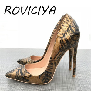 New Color Bronze Feather Leaf Printed Toe 12cm High-heeled Shoes 12 cm Sexy Night Club Wedding Party QP024 ROVICIYA