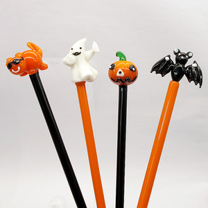 Custom hand made murano glass Halloween animals figurines ornament mixing cocktail Drink Stirring Sticks glass swizzle stick set
