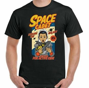 Kosmiczna koszulka Cadet Nasa mężczyźni śmieszna Geek Nerd astronomia kosmita Science Fiction tanie i dobre opinie Podróż TR (pochodzenie) Cztery pory roku Z okrągłym kołnierzykiem SHORT normal COTTON Na co dzień Znak
