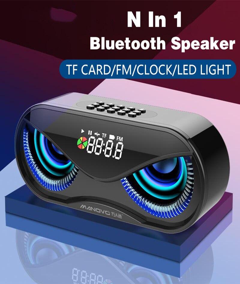 M6 Cool Owl Design Bluetooth Speaker LED Flash Wireless Loudspeaker FM Radio Alarm Clock TF Card