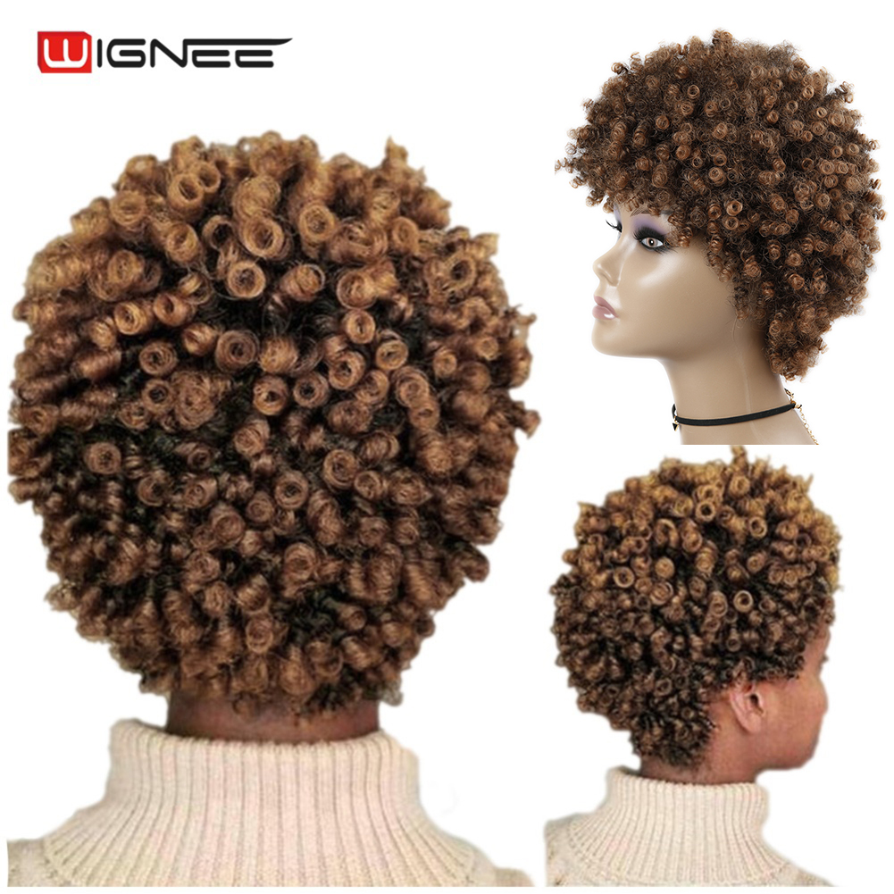 Wignee Short Hair Afro Kinky Curly Heat Resistant Synthetic Wigs For Black Women Mixed Brown Cosplay African Hairstyles Wigs