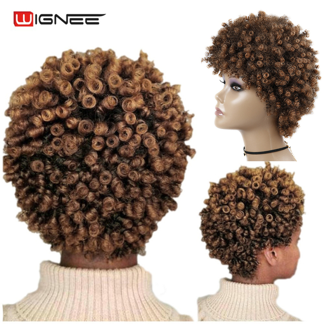 Wignee Short Hair Afro Kinky Curly Heat Resistant Synthetic Wigs for Women Mixed Brown Cosplay African Hairstyles Daily Hair Wig