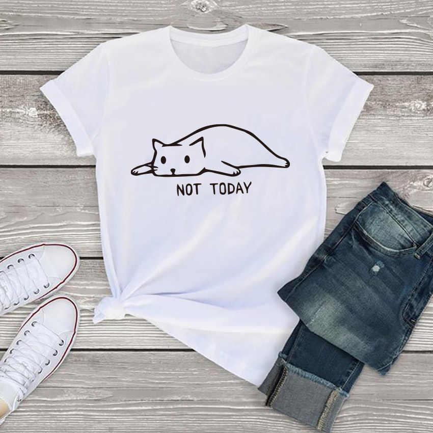 חתול לא היום מכתב הדפסת חולצת טי נשים בגדי 2019 קיץ נשים טי חולצות O צוואר Tumblr קצר שרוול כותנה מזדמן נשים חולצת טי